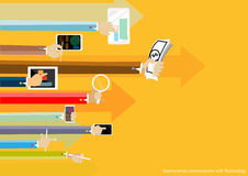 Vektoraffärsman Communicate med teknologiillustrationbegreppet för online-tjänstbegrepp för rengöringsdukbaner och utskrivaven ma royaltyfri illustrationer