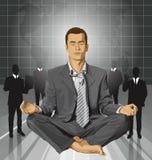 Vektoraffärsman i Lotus Pose Meditating Royaltyfri Bild