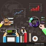 Vektoraffärsman med statistiska data Arkivfoton