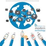 Vektoraffärsman som använder modern teknologi för att meddela med den globala handeln av mobiltelefoner, minnestavla, symboler, l stock illustrationer
