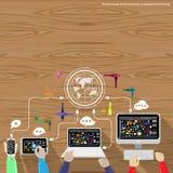 Vektoraffärsman som arbetar med trätabellen för globala kommunikationer Royaltyfri Foto