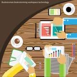 Vektoraffärsmanidékläckning och möte på trätabellen Arkivfoto