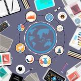 Vektoraffärsmannen med arbetsutrymmekontakten över hela världen, genom att använda den mobila teknologi-, minnestavla-, penn-, bl Arkivfoto