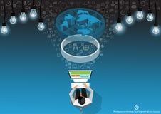 Vektoraffärsmannen med kommunikationsteknologi över hela världen med mobilen, minnestavlan, bärbar datordatorer, lampor och olika royaltyfri illustrationer