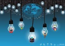 Vektoraffärsmannen med kommunikationsteknologi över hela världen med mobilen, minnestavlan, bärbar datordatorer, lampor och olika vektor illustrationer