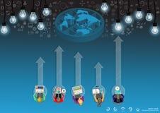Vektoraffärsmannen med kommunikationsteknologi över hela världen med mobilen, minnestavlan, bärbar datordatorer, lampor och olika stock illustrationer