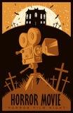 Vektoraffisch för rysarenatten, fasafilm royaltyfri illustrationer
