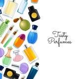Vektoraffisch med illustrationen för bakgrund för doftflaskor vektor illustrationer