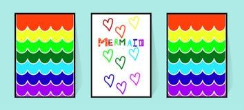 Vektoraffisch med sjöjungfruregnbågesvansen i tecknad filmstil Väggdekor i barnkammaren eller badrummet för flickor Komisk inskri vektor illustrationer