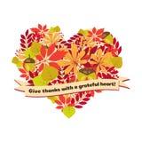 Vektoraffischen med citationstecken - ge tack en tacksam hjärta Lyckliga sidor och bär för höst för mall för tacksägelsedagkort Arkivbilder