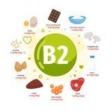 Vektoraffischprodukter med vitaminet B2 vektor illustrationer