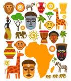 Vektorafrika-Ikonensatz Lizenzfreie Stockfotos
