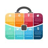 Vektoraktenkoffer infographic Schablone für Beutel Stockfoto