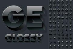 Vektoralfabet av enkla glansiga bokstäver 3d Royaltyfri Foto