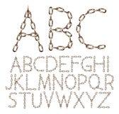 Vektoralfabetbokstäver som göras från den bruna realistiska kedjan som isoleras på vit stock illustrationer