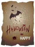 Vektorallhelgonaaftonillustration med slagträn, spindlar och rengöringsduk stock illustrationer