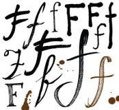 Buchstaben des Alphabetes geschrieben mit einer Bürste. Stockbilder