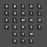 Vektoralphabet-Plastikfliesen für Verwirrungswörter Stockfoto