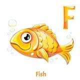Vektoralphabetbuchstabe F Fische Lizenzfreies Stockfoto
