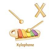 Vektoralphabetbuchstabe X xylophone Stockfotografie
