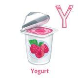 Vektoralphabetypsilon joghurt Lizenzfreie Stockfotografie