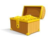 Vektoralter hölzerner Kasten mit Goldgeld stock abbildung