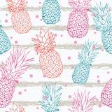 Vektorananas på grunge gör randig färgrik tropisk sömlös modellbakgrund för sommar Utmärkt som ett textiltryck, parti royaltyfri illustrationer