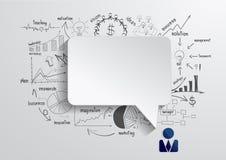 Vektoranförandebubbla med teckningsaffärsstrateg stock illustrationer