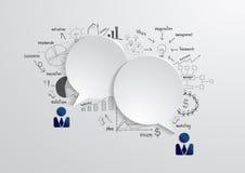 Vektoranförandebubbla med teckningsaffärsstrateg vektor illustrationer