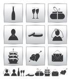 Vektoransammlungsweb-Ikone. Stellen Sie Hochzeitsgeschenk ein Lizenzfreies Stockbild