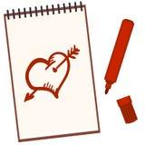 Vektoranteckningsboken med den röda tuschpennan och skissar teckningar: Hjärta och pil vektor illustrationer