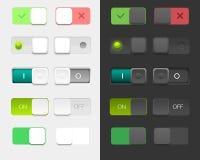 Vektoranvändargränssnittuppsättning inklusive olika strömbrytare Arkivbilder