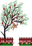 Vektorapa som hänger på träd Arkivfoto
