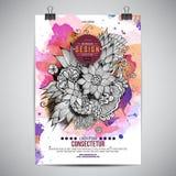 Vektoraquarell-Farben-Blumenplakat Stockfoto