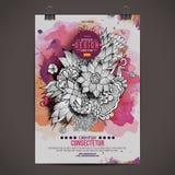 Vektoraquarell-Farben-Blumenplakat Stockfotos
