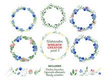Vektoraquarellkränze und unterschiedliches Blumen Stockfotografie