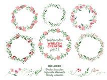Vektoraquarellkränze und unterschiedliches Blumen Lizenzfreies Stockfoto