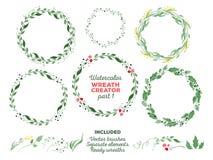 Vektoraquarellkränze und unterschiedliches Blumen Lizenzfreie Stockbilder