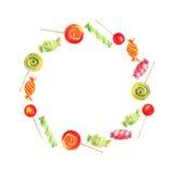 Vektoraquarellrahmen mit Süßigkeiten und Lutschern Lizenzfreie Stockbilder