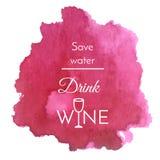 Vektoraquarellspritzen mit Textzitat über Wein Purpurroter Fleckhintergrund des abstrakten Weins Stockfotografie