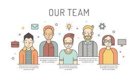 Vektorarbeits-Teamillustration der Männer mehrfarbige GeschäftsKonzept des Entwurfes Minimalistic-Design Lizenzfreie Stockfotografie