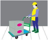Vektorarbetaren skjuter trollyen fyllt objekt vektor illustrationer