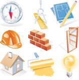 Vektorarchitektur führte Ikonenset einzeln auf Stockbilder