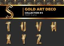 VektorArt Deco 3D stilsort Glänsande guld- Retro alfabet Royaltyfri Bild
