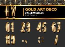 VektorArt Deco 3D stilsort Glänsande guld- Retro alfabet Gatsby vagel Royaltyfria Bilder