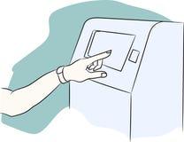 VektorATM-maskin med tillbehöret Terminal för betalning Handen med ett konditionarmband inkluderas i kontot royaltyfri illustrationer