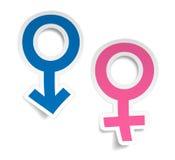 Vektoraufkleber mit beschädigt und Venussymbole Lizenzfreie Abbildung