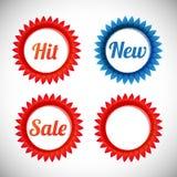 Vektoraufkleberverkauf, neu, Hit Lizenzfreies Stockbild