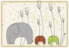 Vektorauslegung mit Elefanten Lizenzfreies Stockfoto
