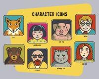 Vektoravataras eingestellt lustige bunte Charaktere Männer, Frauen und lustige Tiere Schwein, Katze, Bär und Fuchs Stockfoto